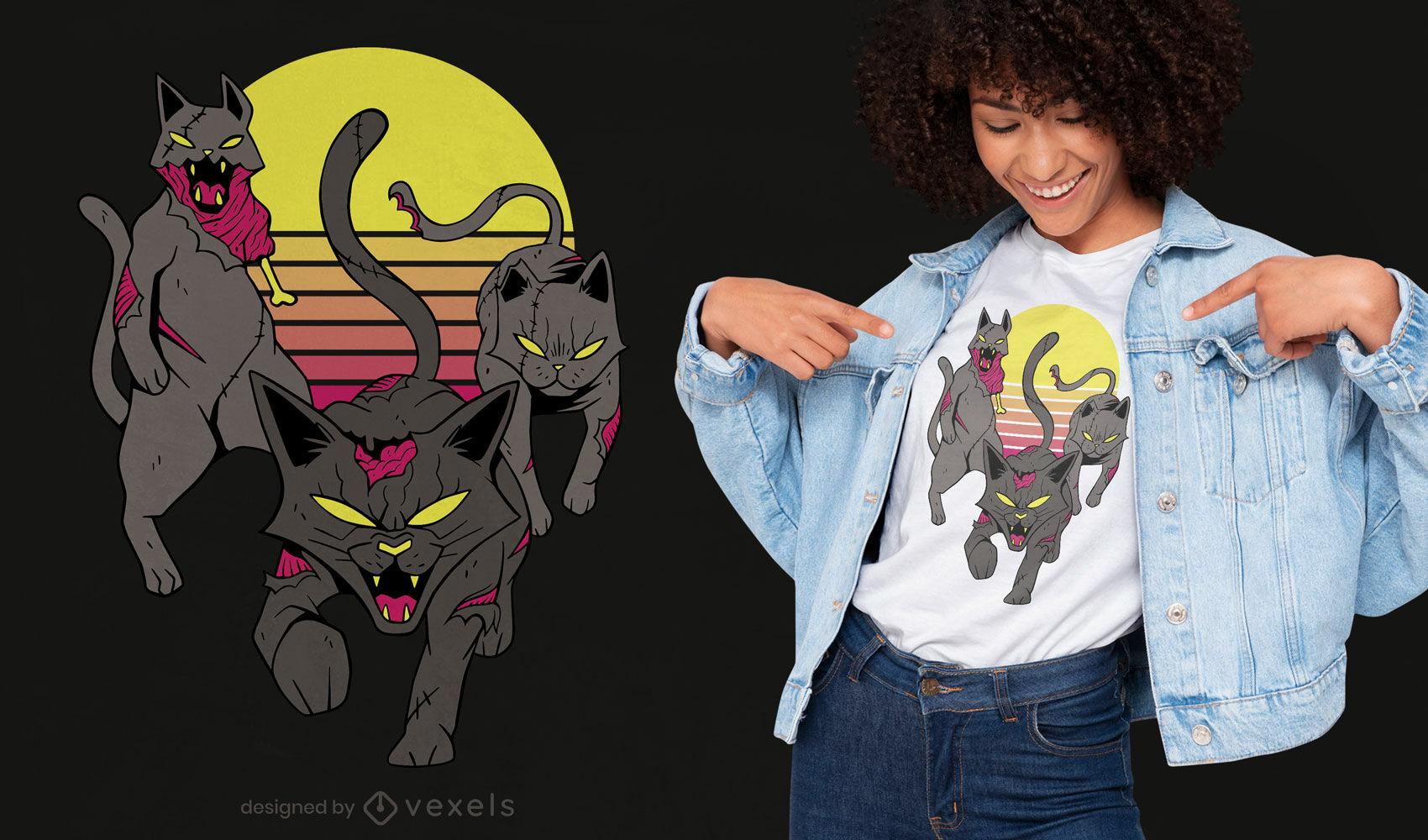 Design de t-shirt do Dia das Bruxas para gatos vadios zumbis