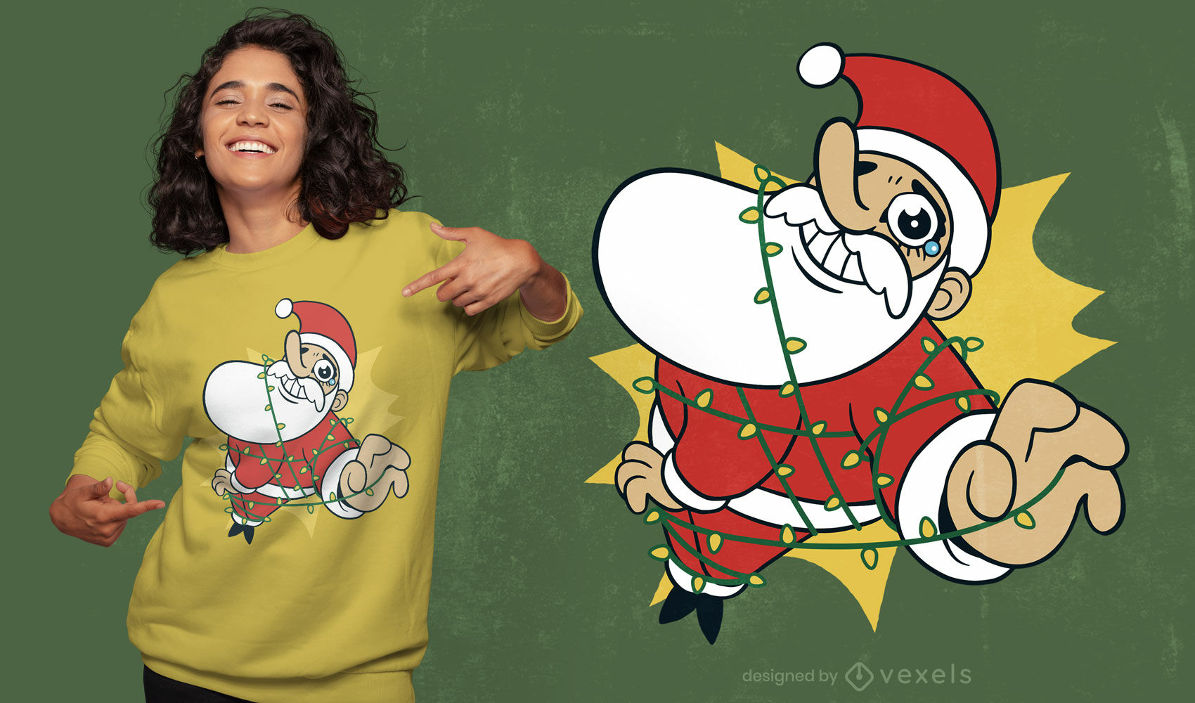 Weihnachtsmann gefangen im T-Shirt-Design mit Weihnachtsbeleuchtung