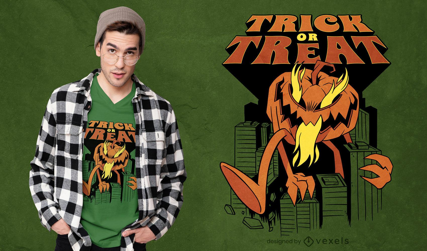 Design gigante de t-shirt com abóbora de halloween