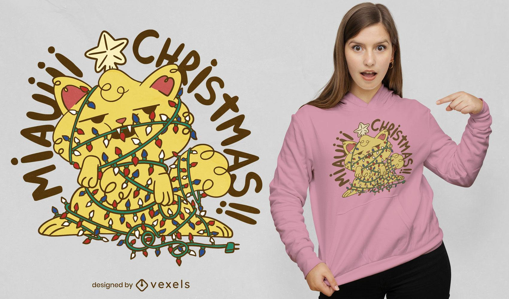 Gato en dise?o de camiseta de luces de ?rbol de navidad