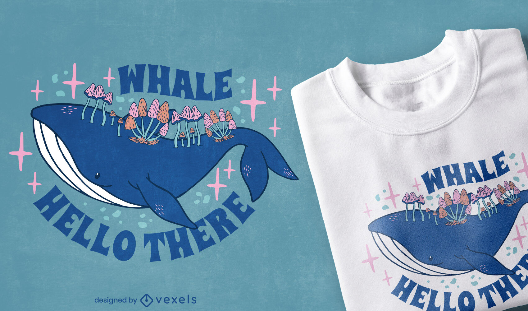 Whale and mushrooms t-shirt design