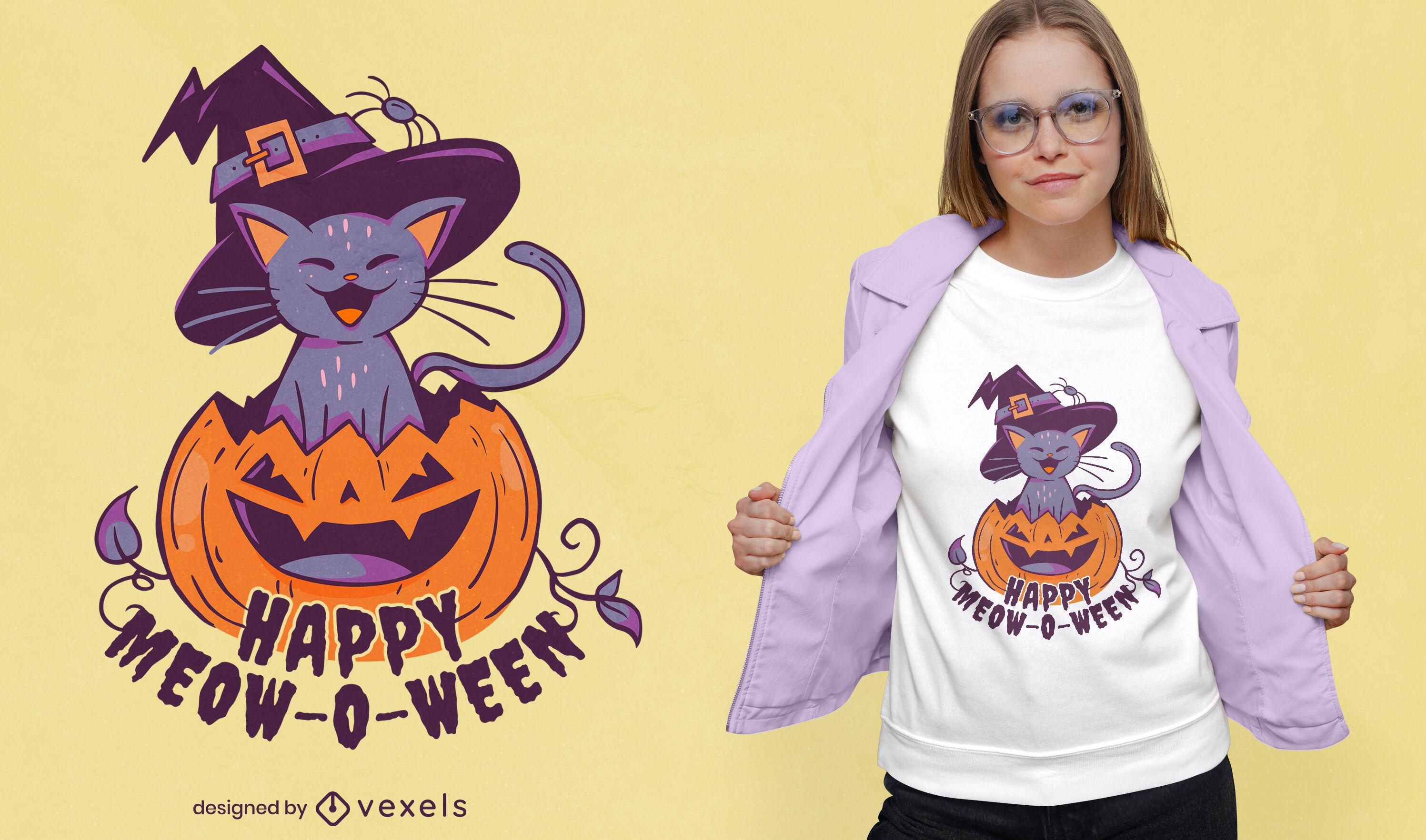Lindo gato en dise?o de camiseta de halloween de calabaza