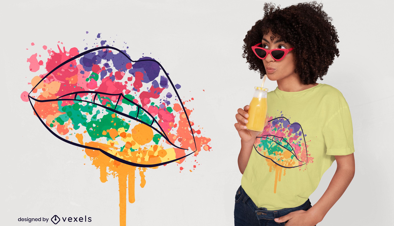 Watercolor paint lips t-shirt design