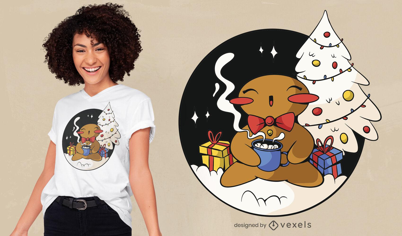 Diseño de camiseta navideña de galleta de jengibre