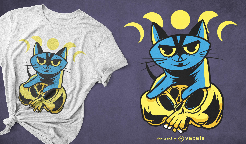 Diseño de camiseta de gato de halloween en calaveras