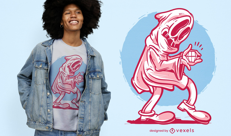 Geist mit Rauten-Retro-T-Shirt-Design