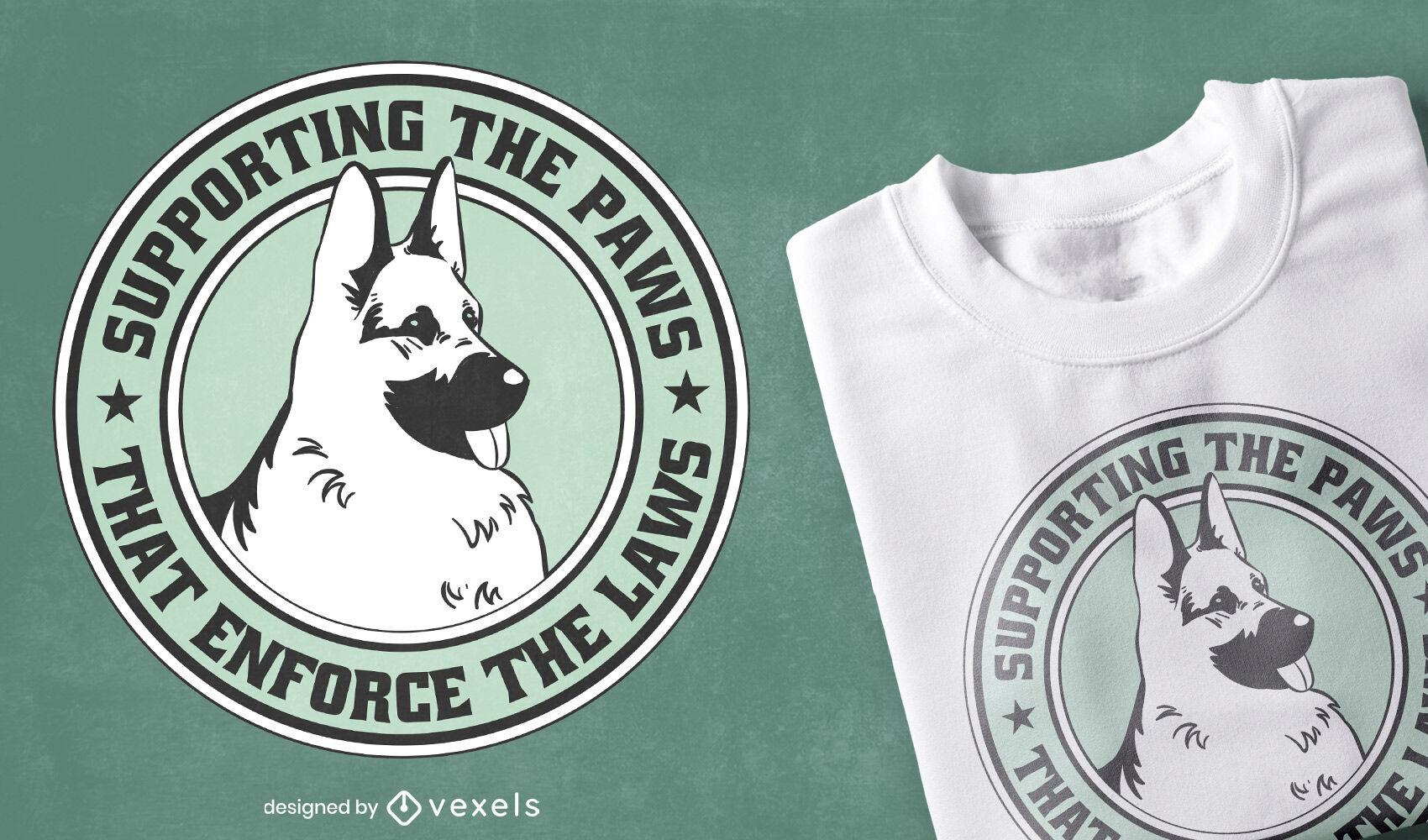 Design de camiseta do pastor alemão para aplicação da lei