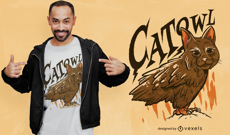 Gran diseño de camiseta gato-búho