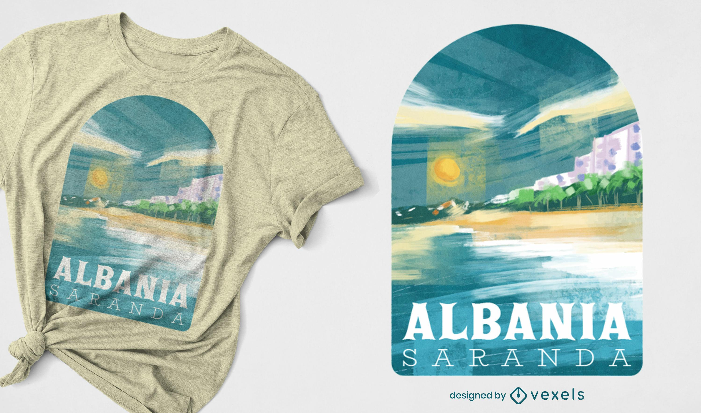 Dise?o de camiseta de paisaje de playa de Albania