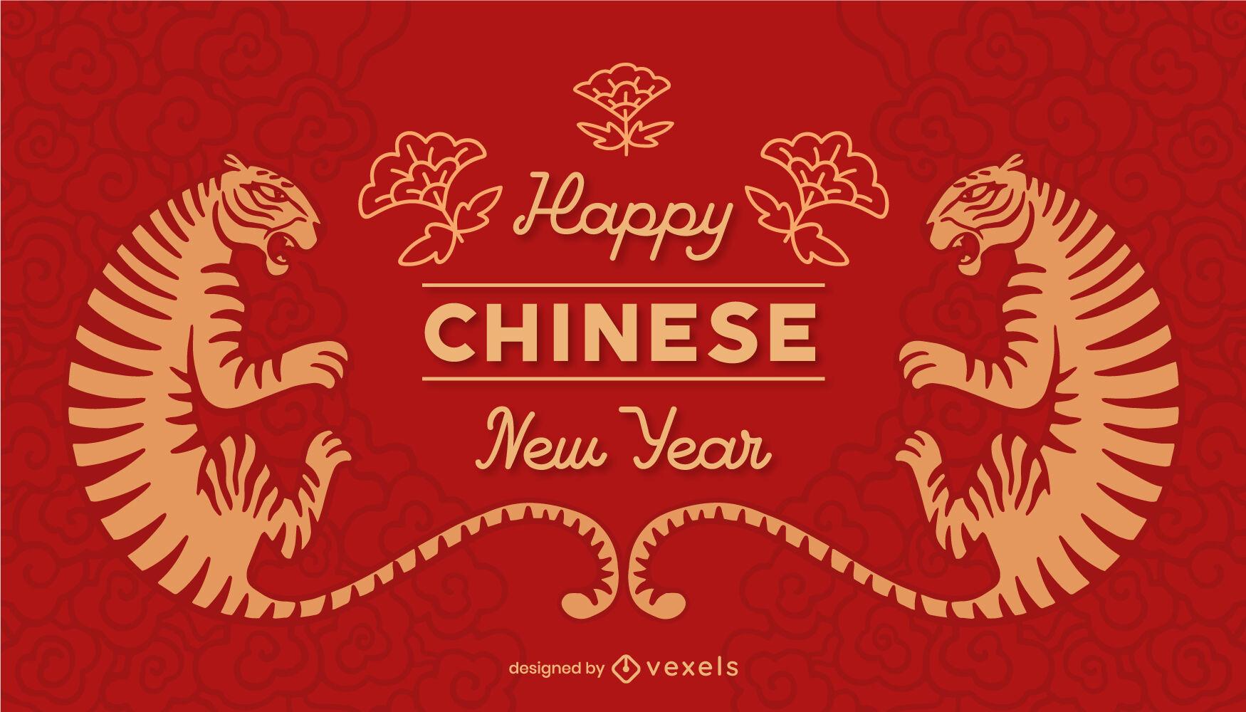 Control deslizante de tigre feliz año nuevo chino