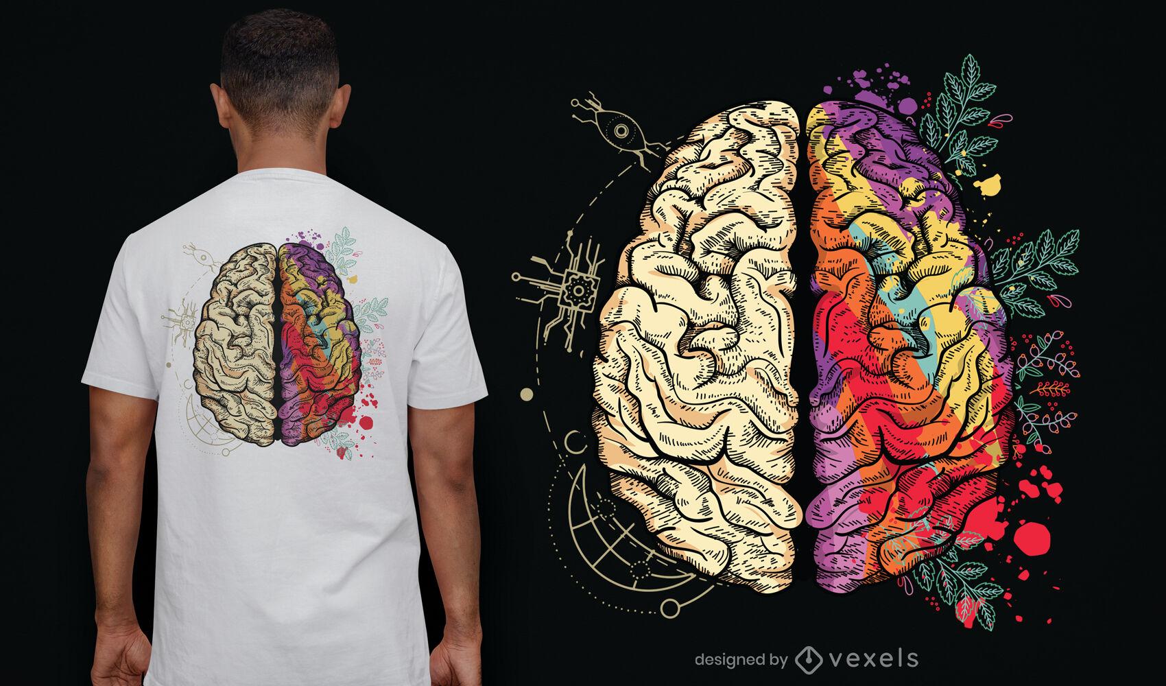 Desenho de camiseta com ilustra??o de hemisf?rios cerebrais