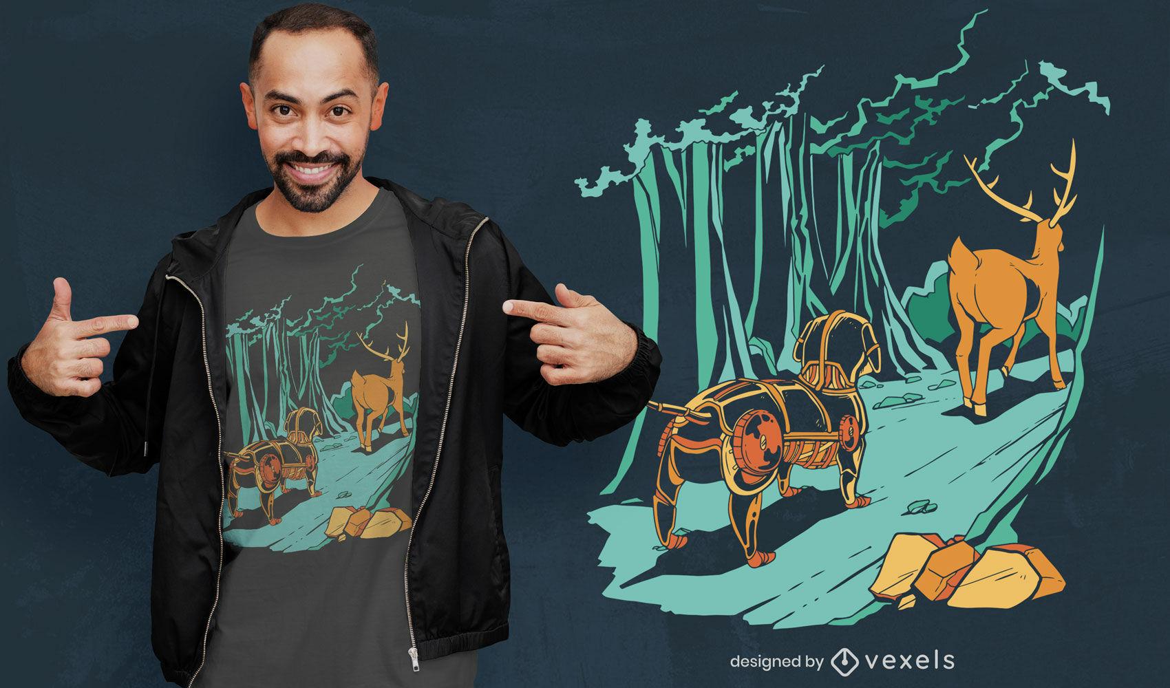 ANFRAGE Roboter Hund T-Shirt Design