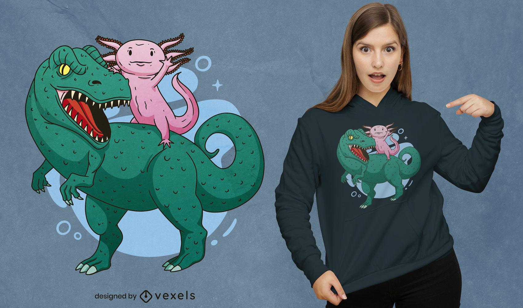 Cooles Axolotl und T-Rex T-Shirt Design