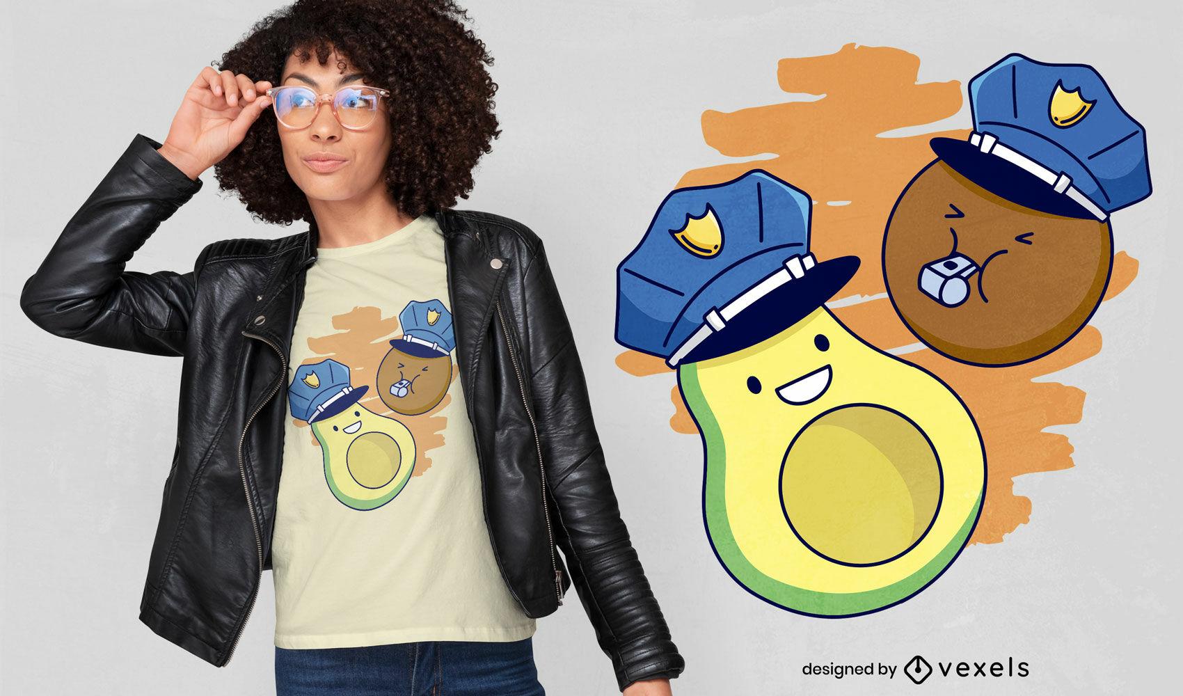 SOLICITAR dise?o de camiseta de polic?a de aguacate