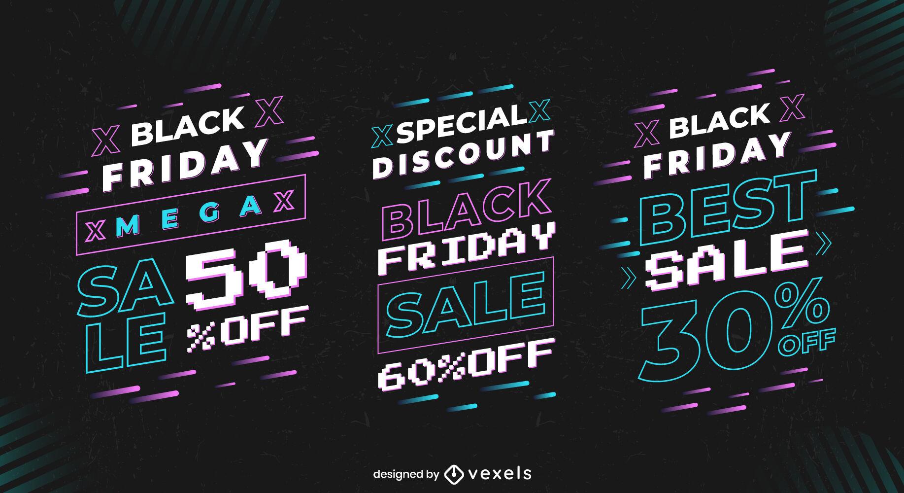 Conjunto de insignias de pixel art de venta de viernes negro