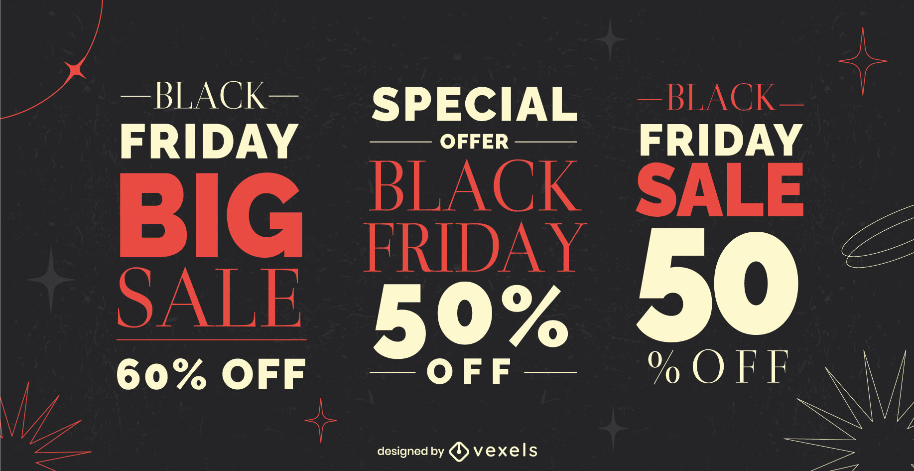 Black friday sale and discount badge set