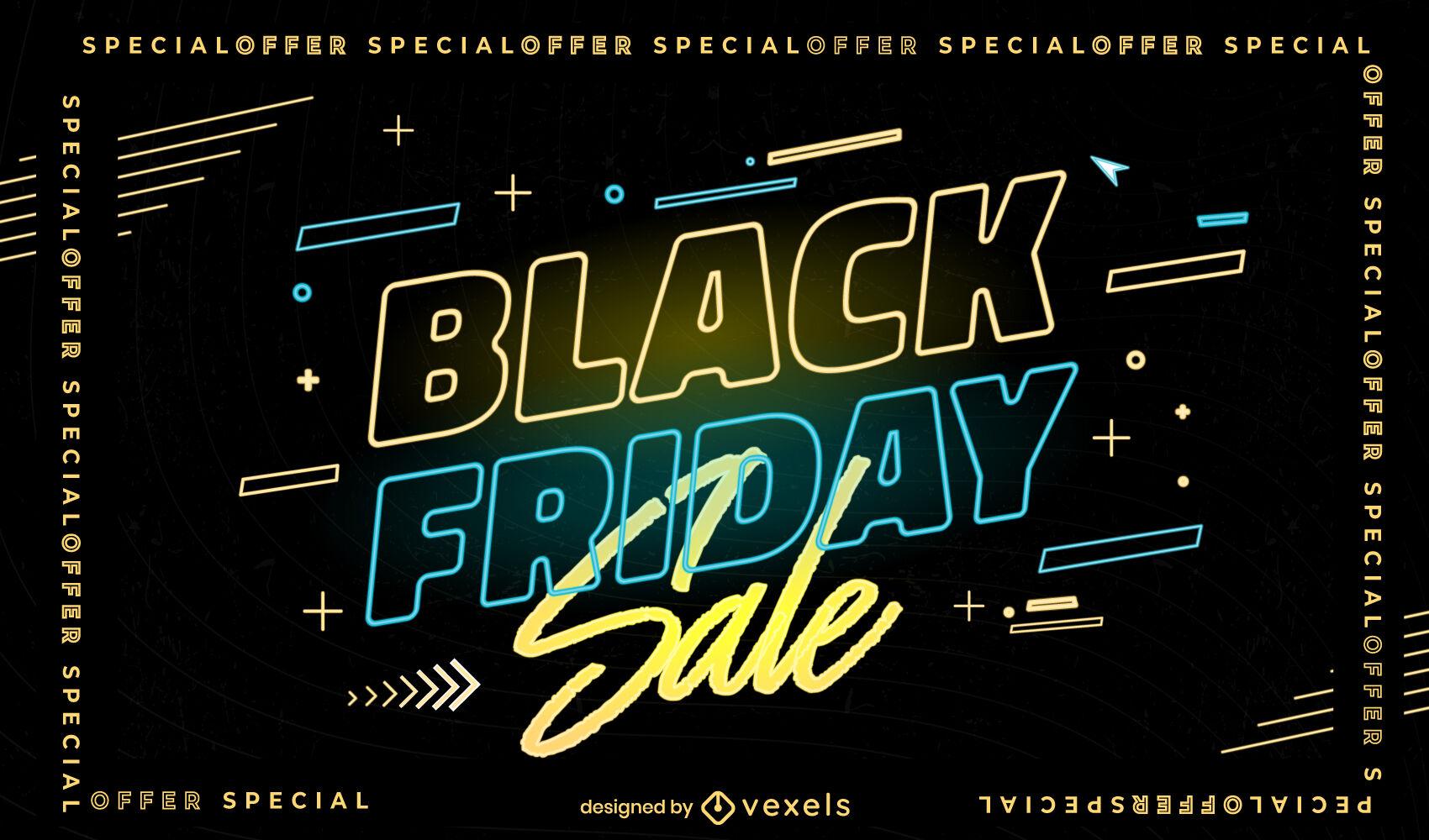 Black friday event sale neon slider