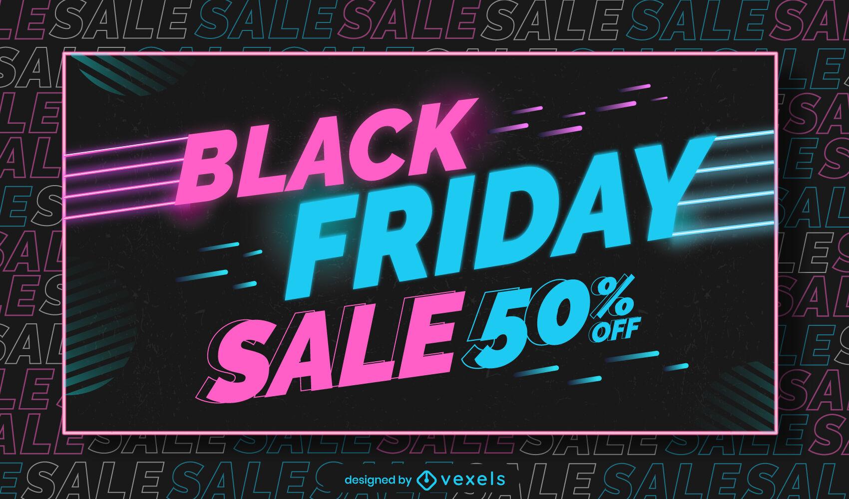 Black friday promotion neon slider