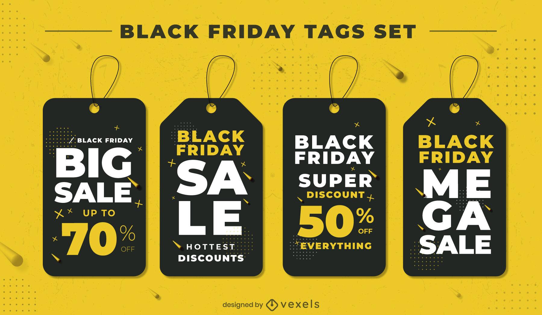 Black friday promotion event tag set