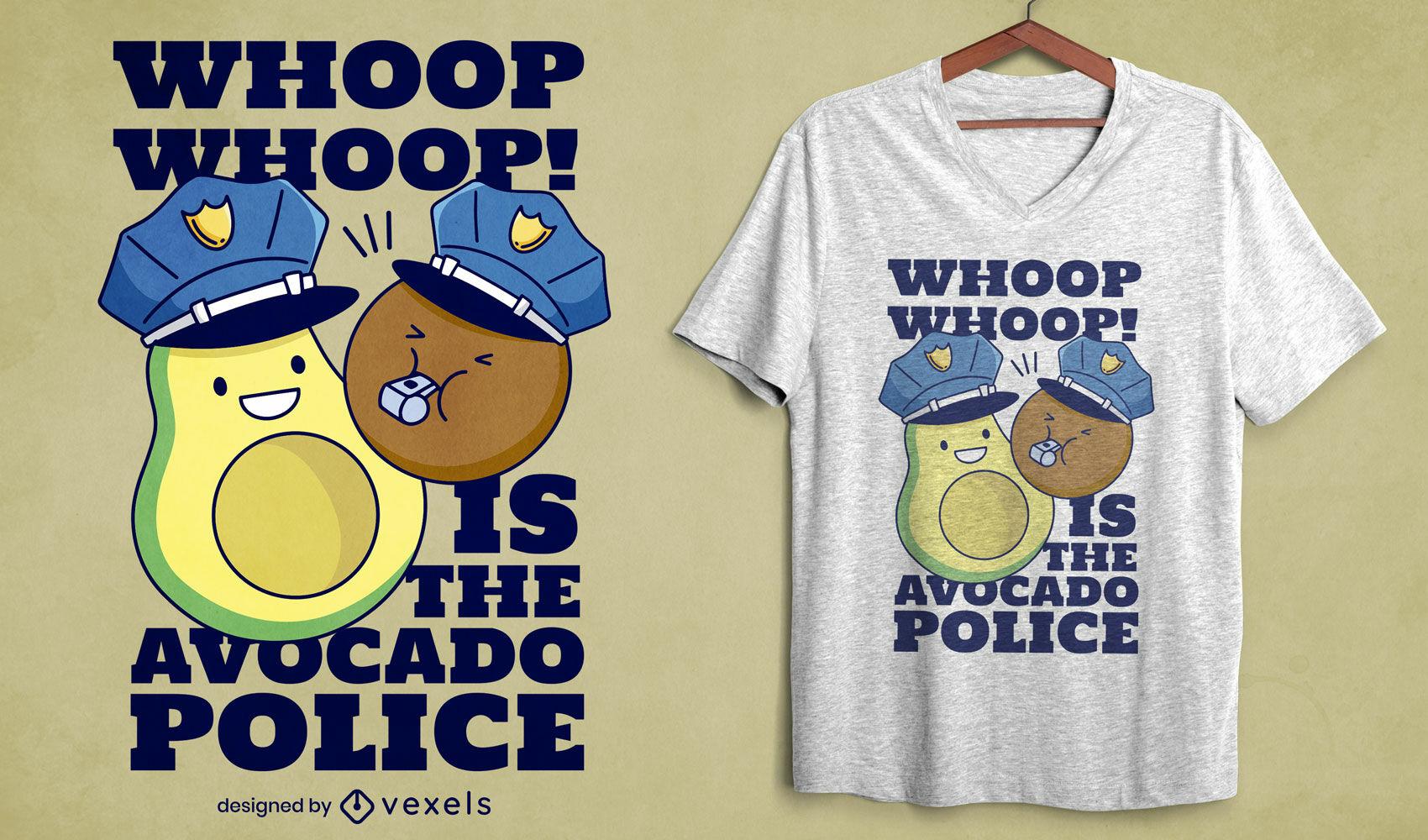 Divertido diseño de camiseta de policía de aguacate.