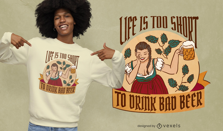 Diseño de camiseta vintage mujer bebiendo cerveza