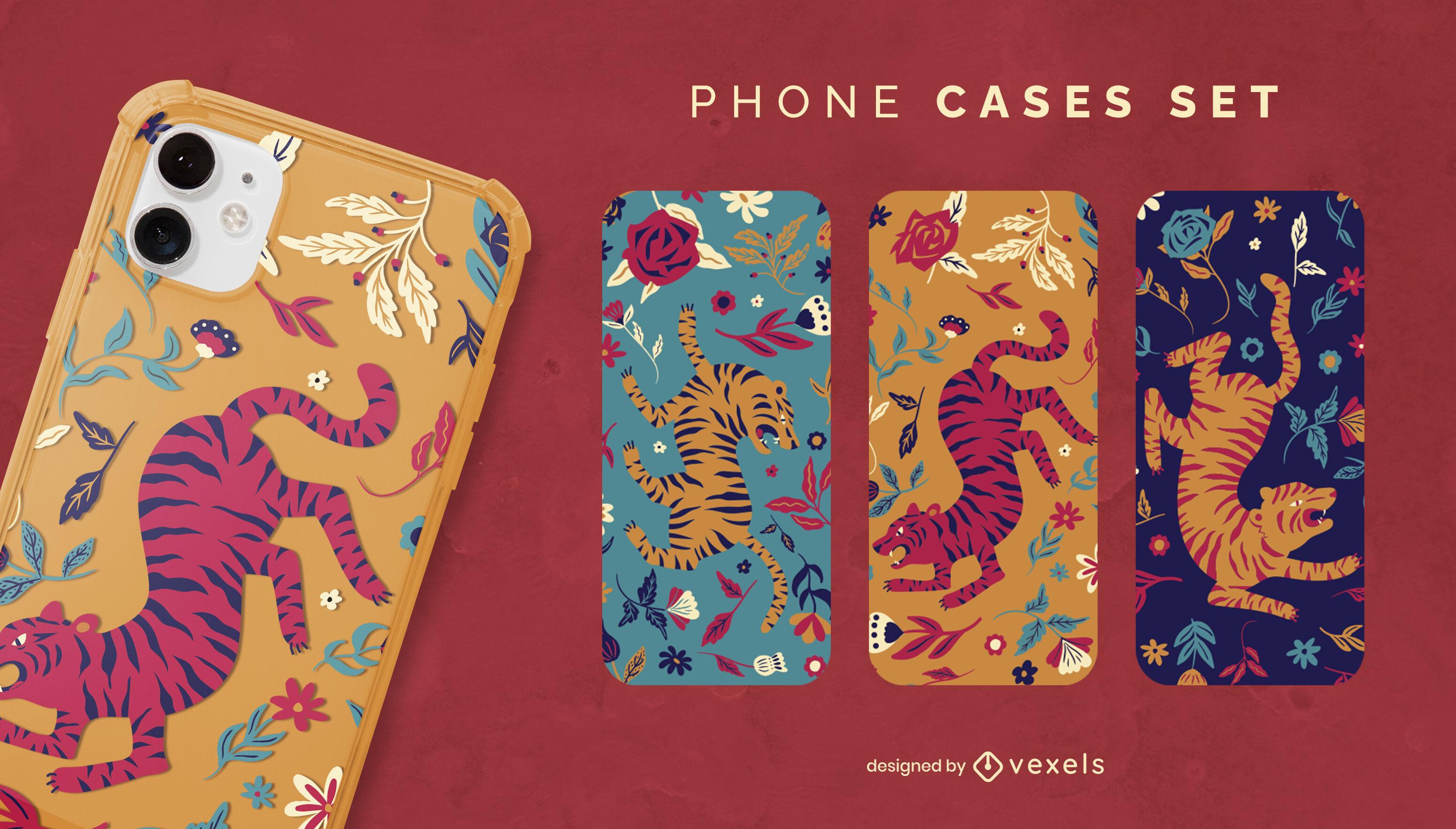 Conjunto de capa de telefone animal tigres floral