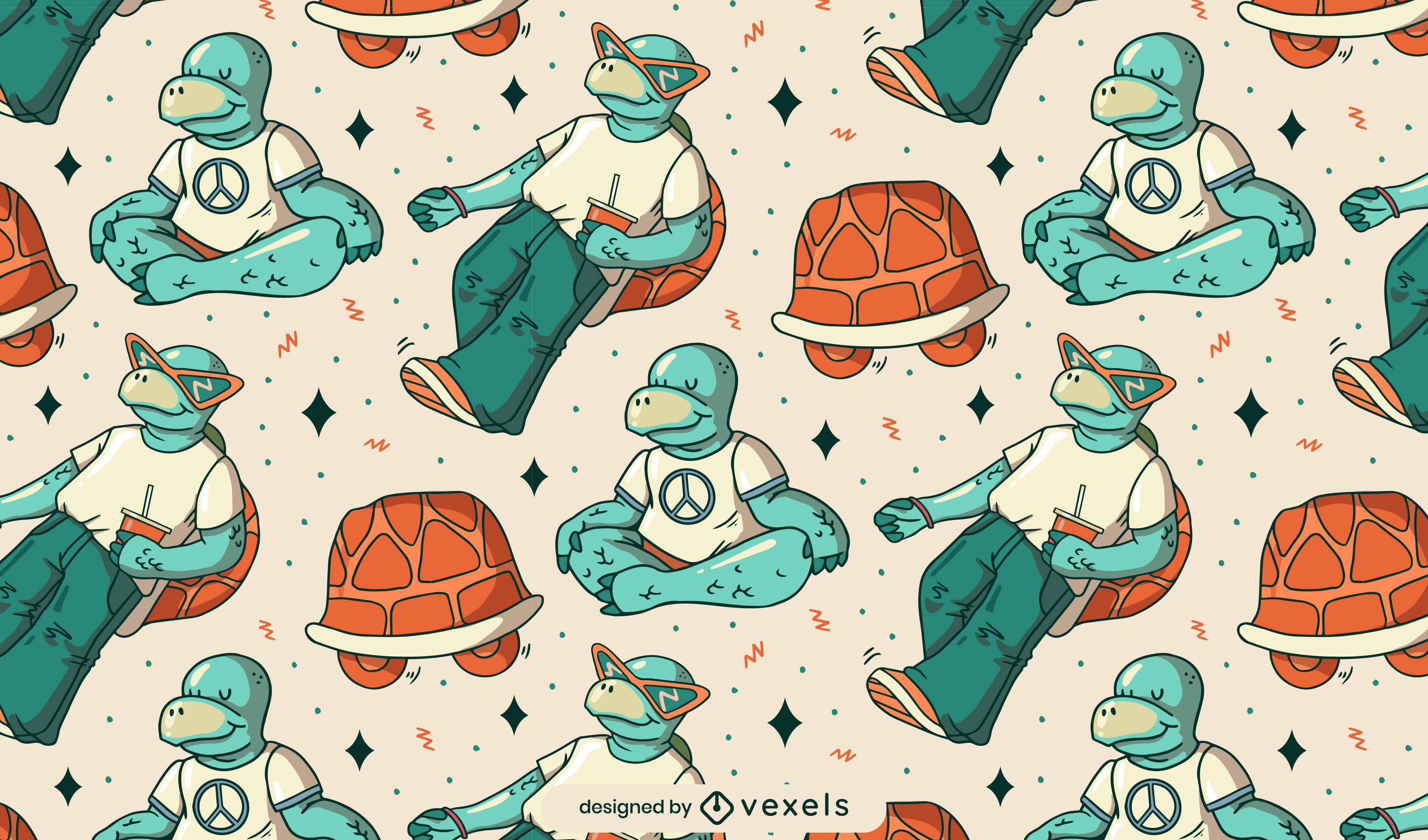 Dise?o de patr?n de personajes de tortuga de dibujos animados