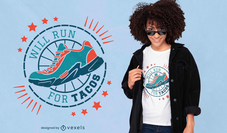 Comic-Lauf für Tacos-T-Shirt-Design
