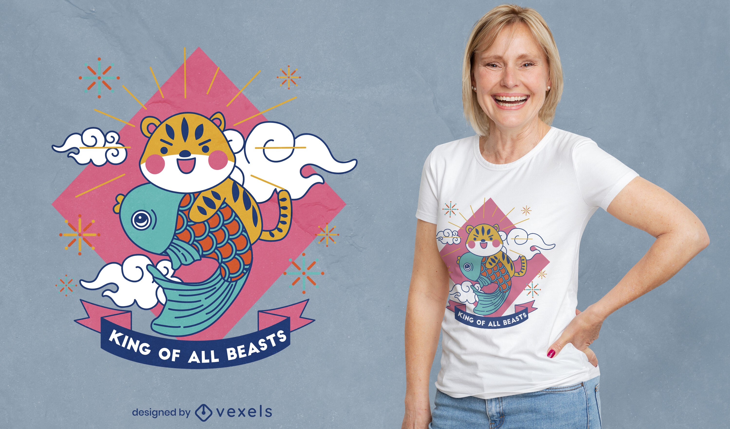 Cute tiger with fish t-shirt design