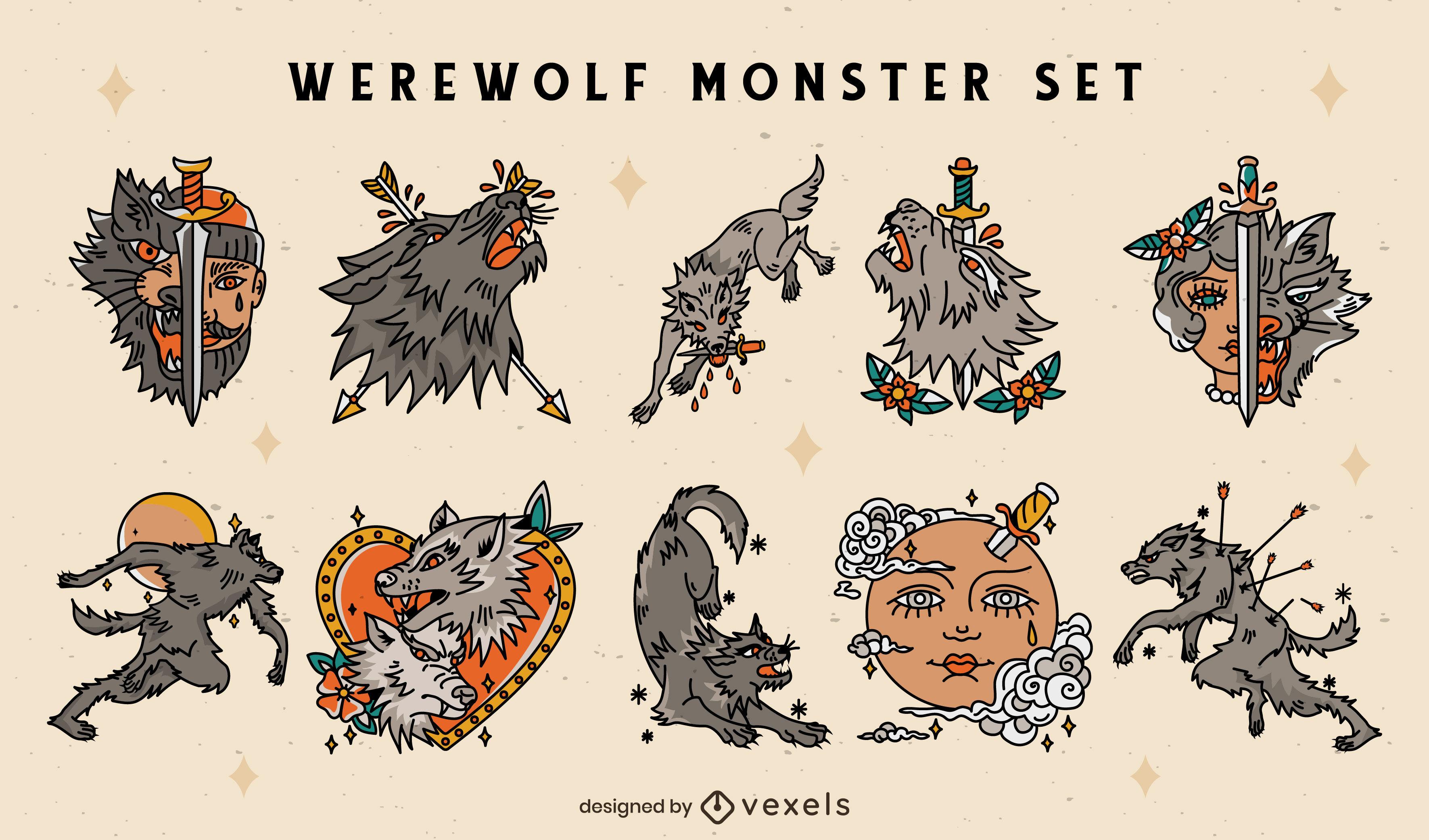 Conjunto de tatuaje de personaje de monstruo de hombre lobo