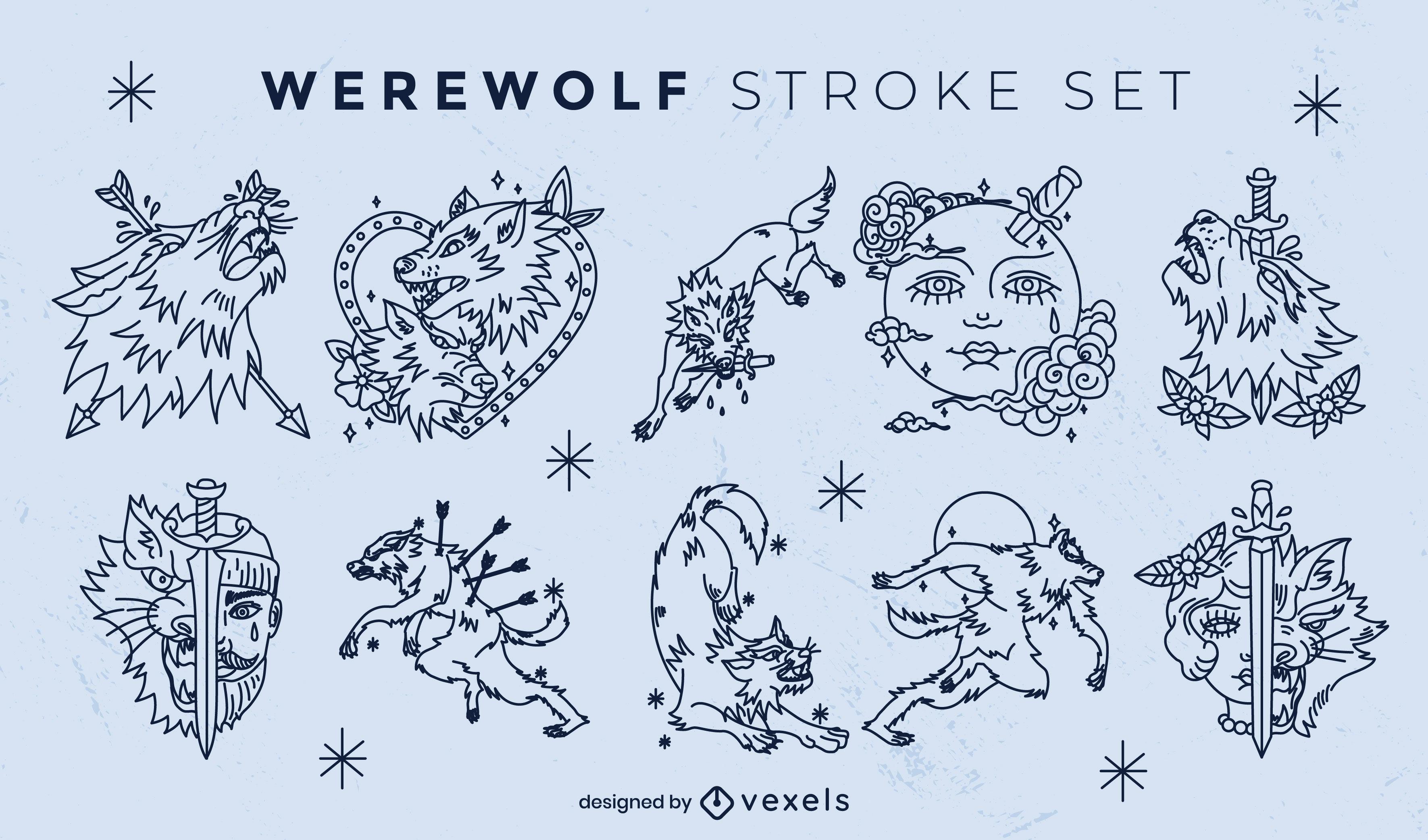 Conjunto de trazos de caracteres de criatura hombre lobo