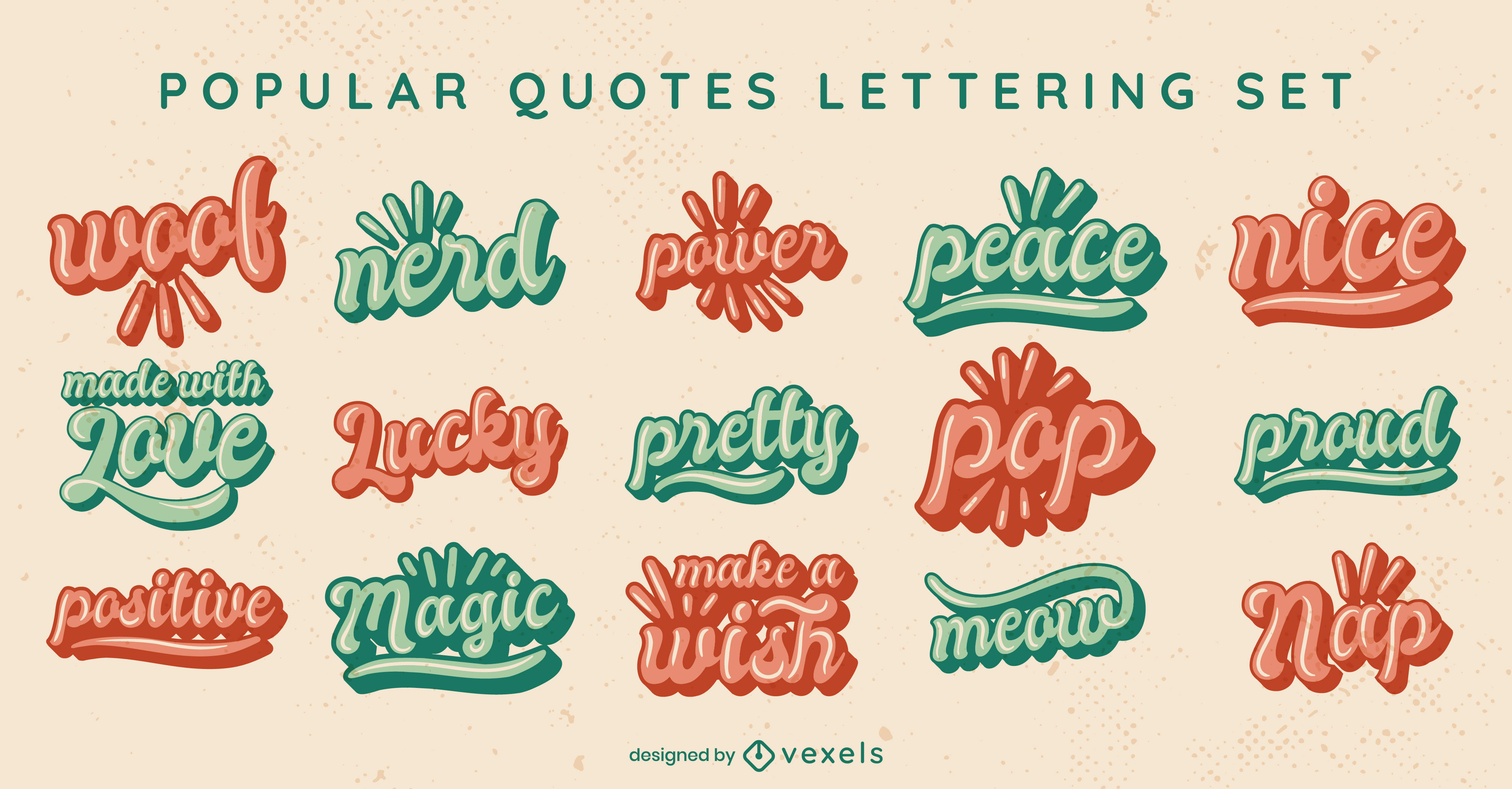 Popular words and quotes lettering set