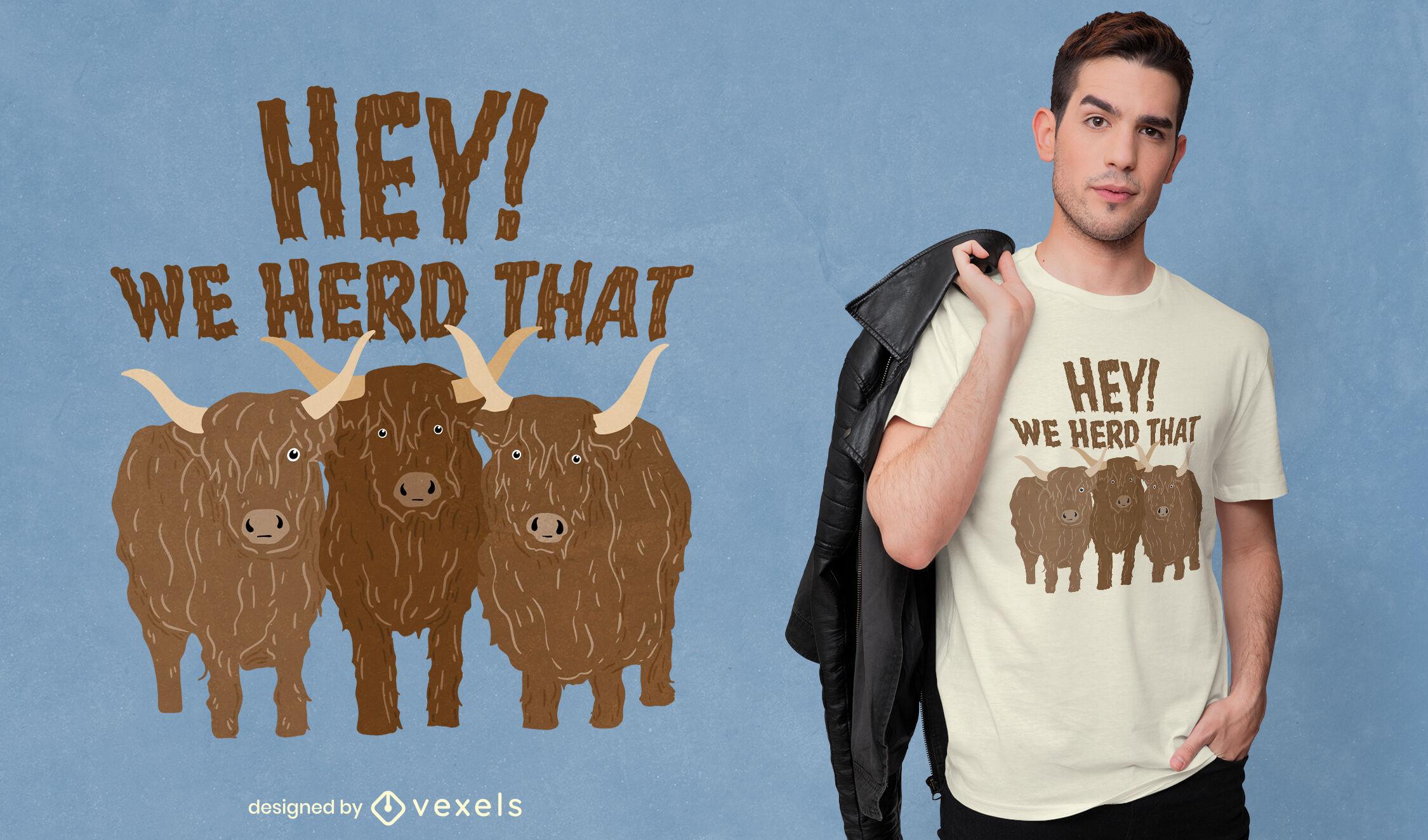 Dise?o de camiseta de reba?o de vacas peludas.