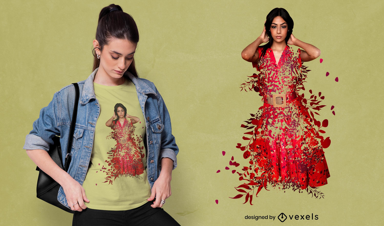 Girl in plant dress psd t-shirt design