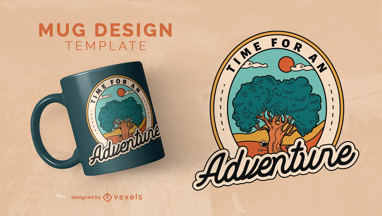 Tree nature badge adventure mug template