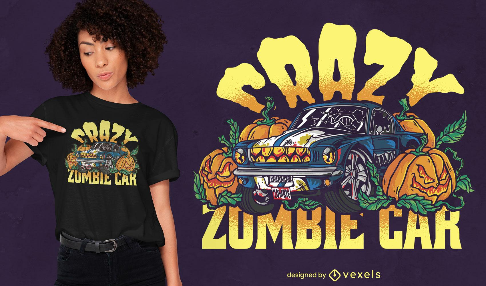 Design de t-shirt de carro zumbi louco assustador