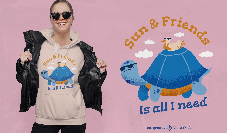 Diseño de camiseta amigable con cita de tortuga y pato.