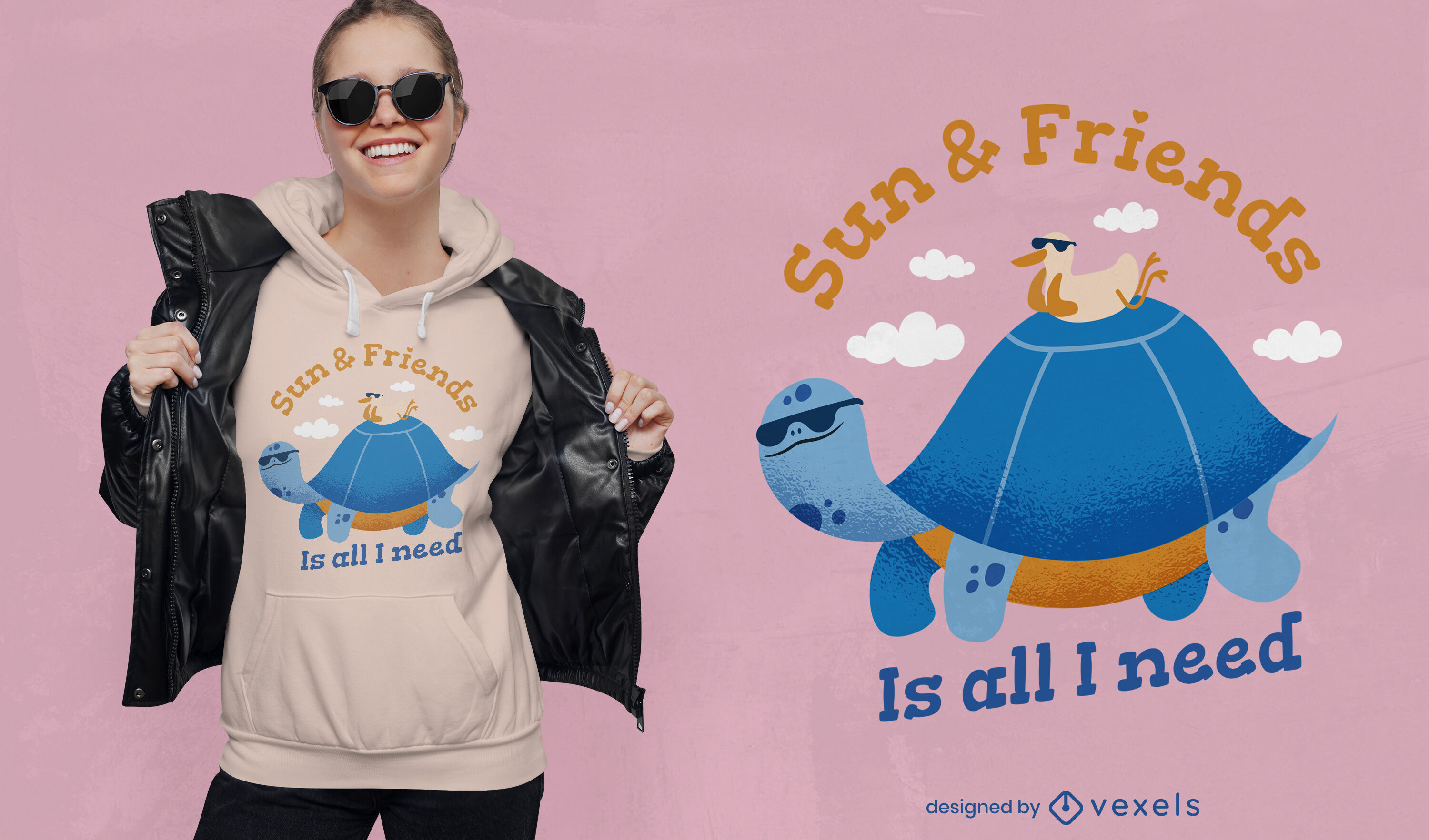 Friendly turtle and duck quote t-shirt design