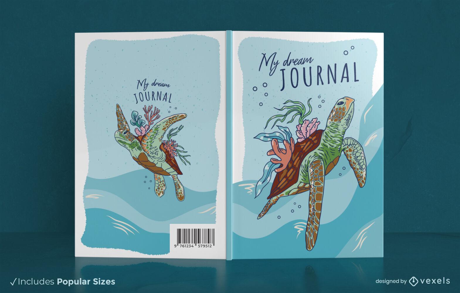 Turtle swimming dream journal cover design