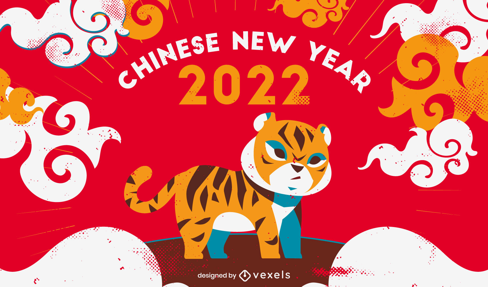 Chinese New Year cute tiger flat cartoon