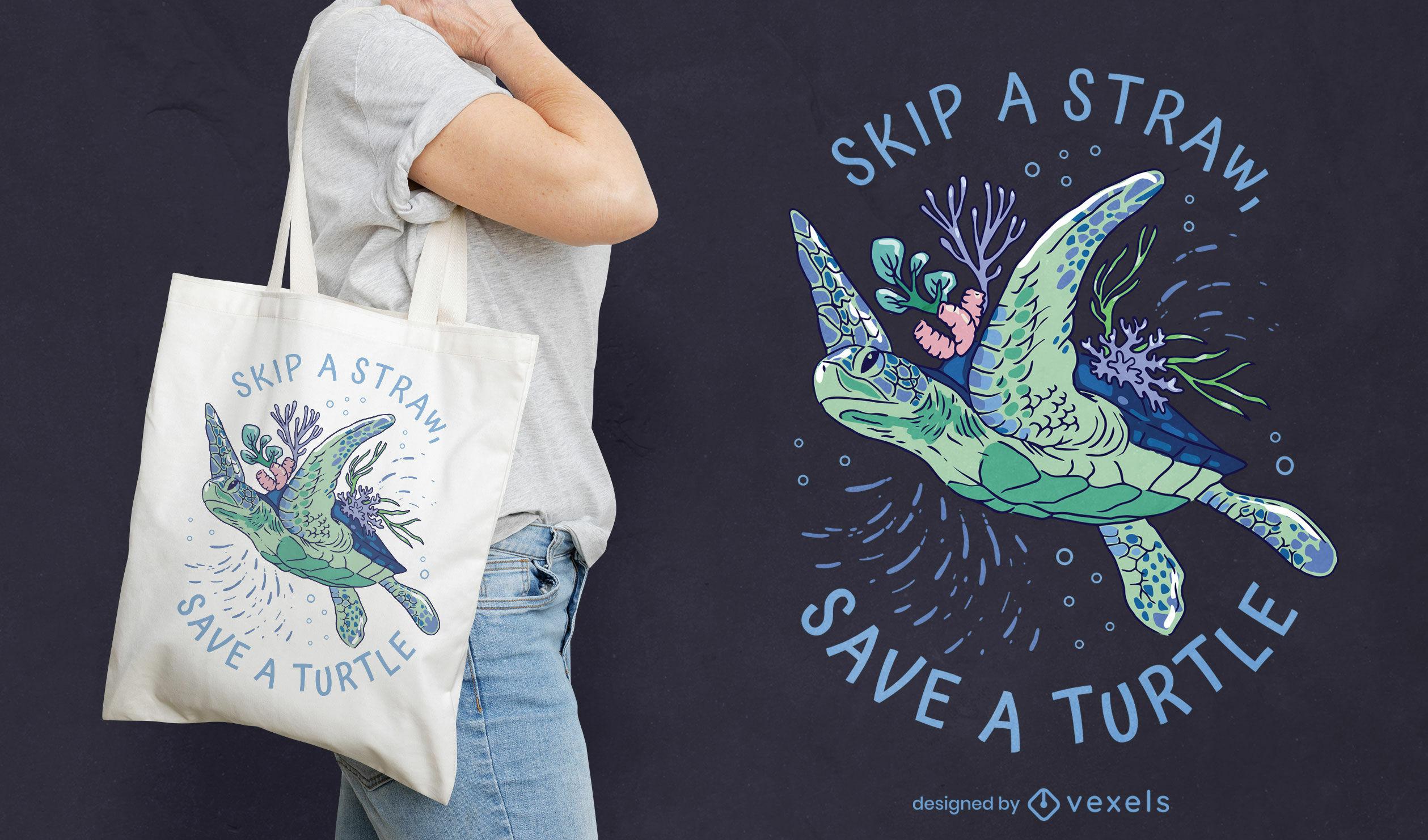 Turtle animal swimming tote bag design