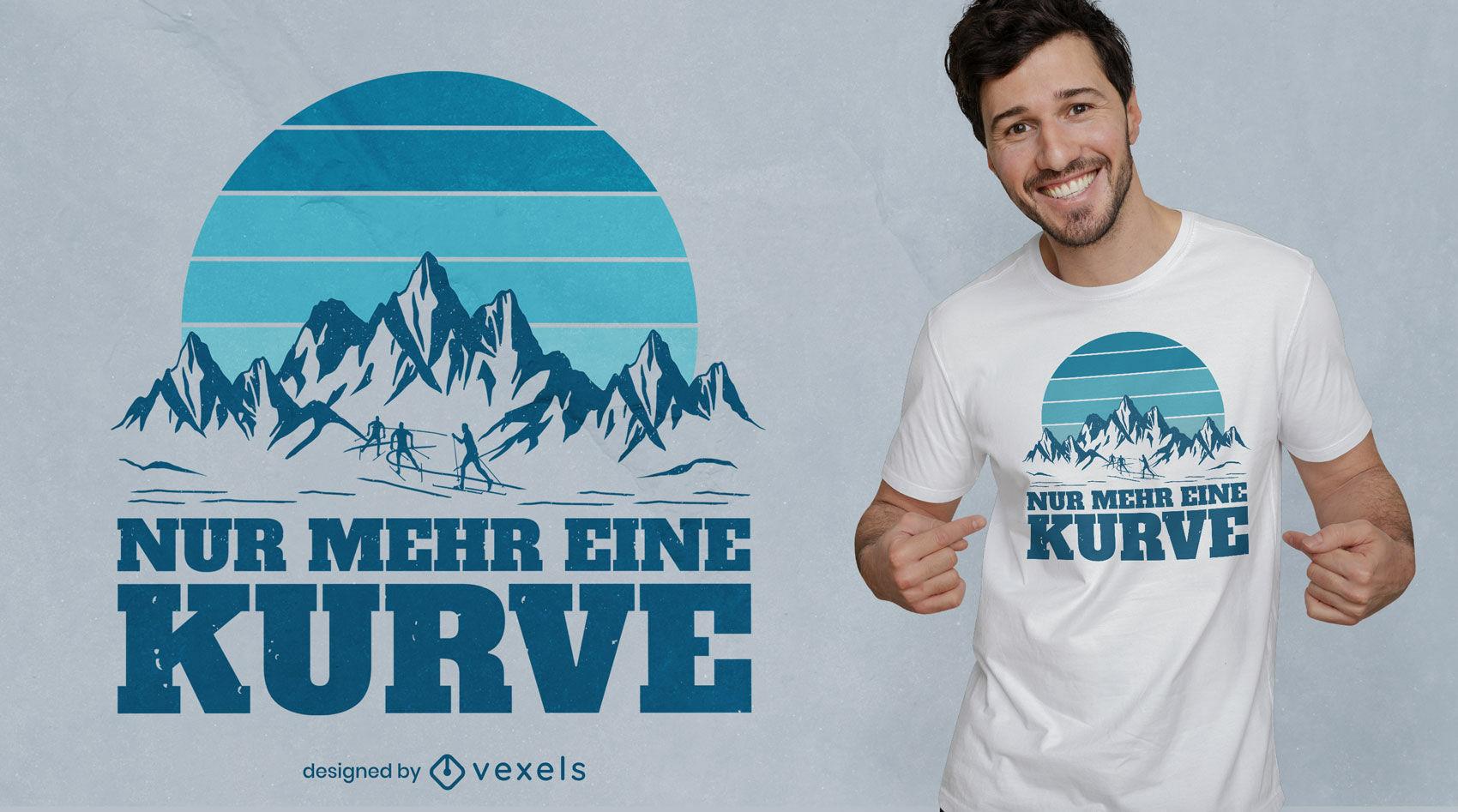 Design de t-shirt retro legal para esquiar