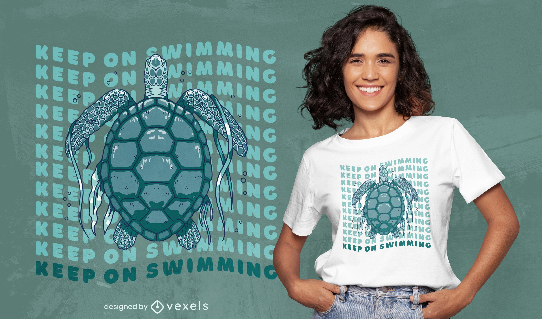 Impresionante dise?o de camiseta de tortuga nadando.