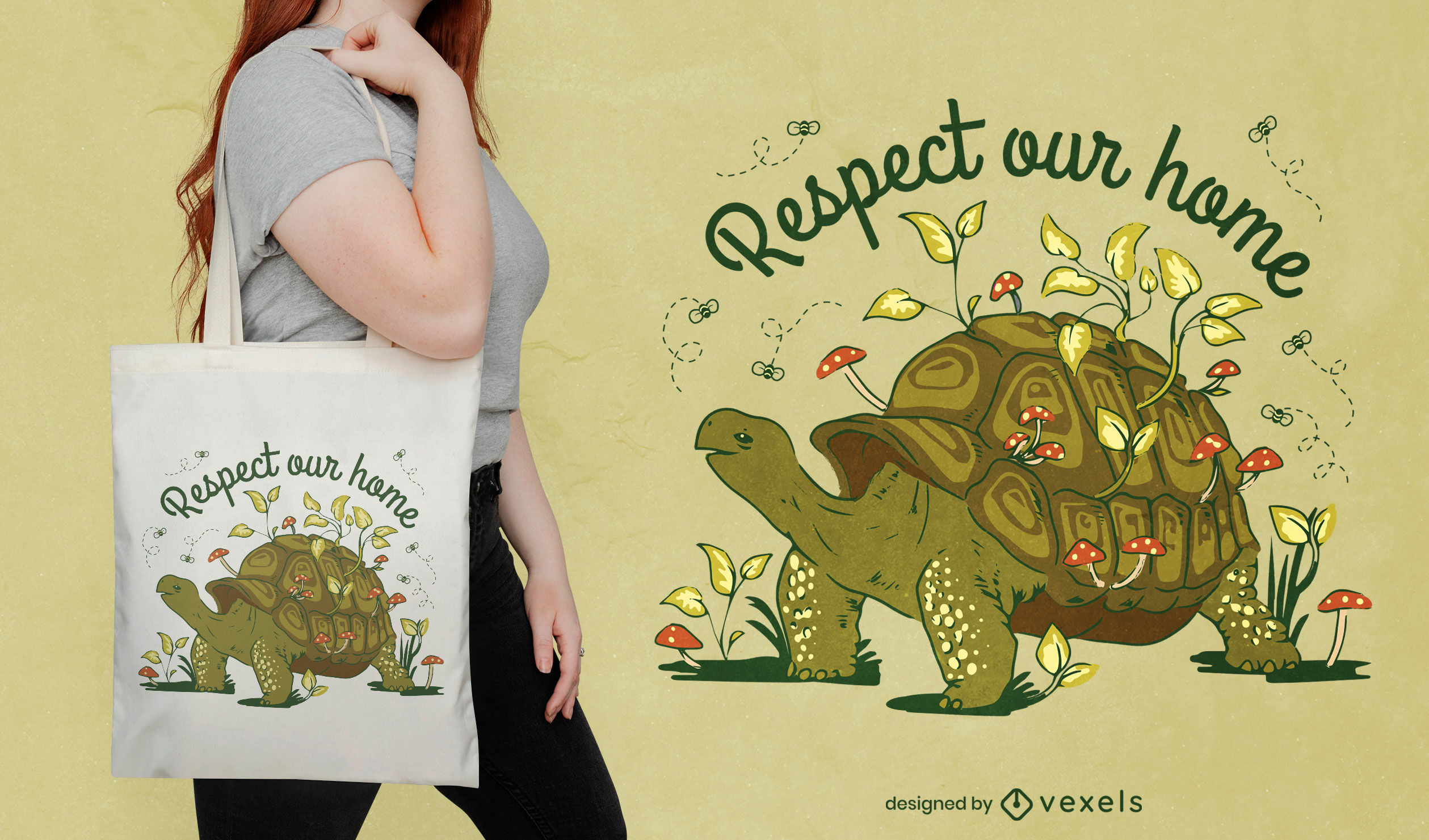 Animal de tortuga terrestre en la naturaleza dise?o de bolsa de tela