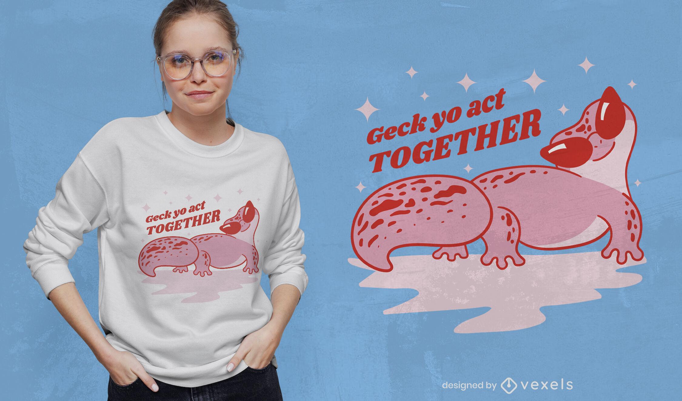 Gecko lizard cute t-shirt design