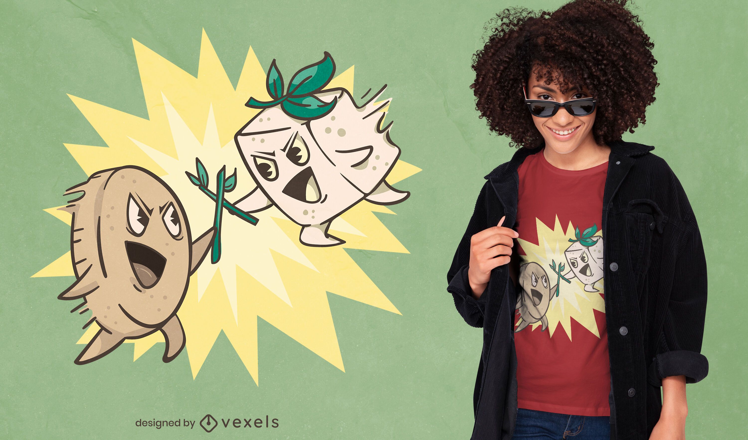 ANFRAGE Cooles Food Fight T-Shirt Design