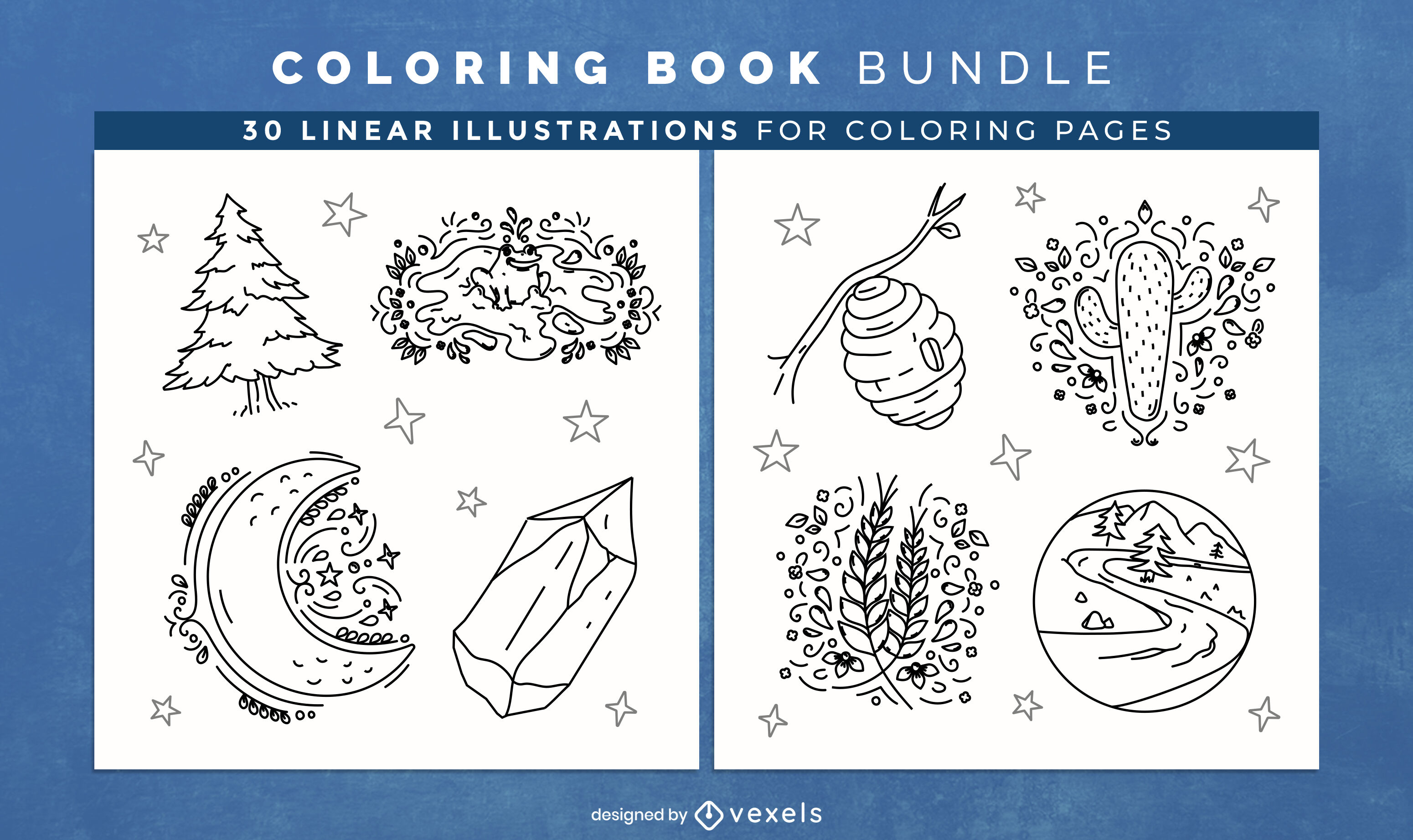 Nature elements coloring book design pages