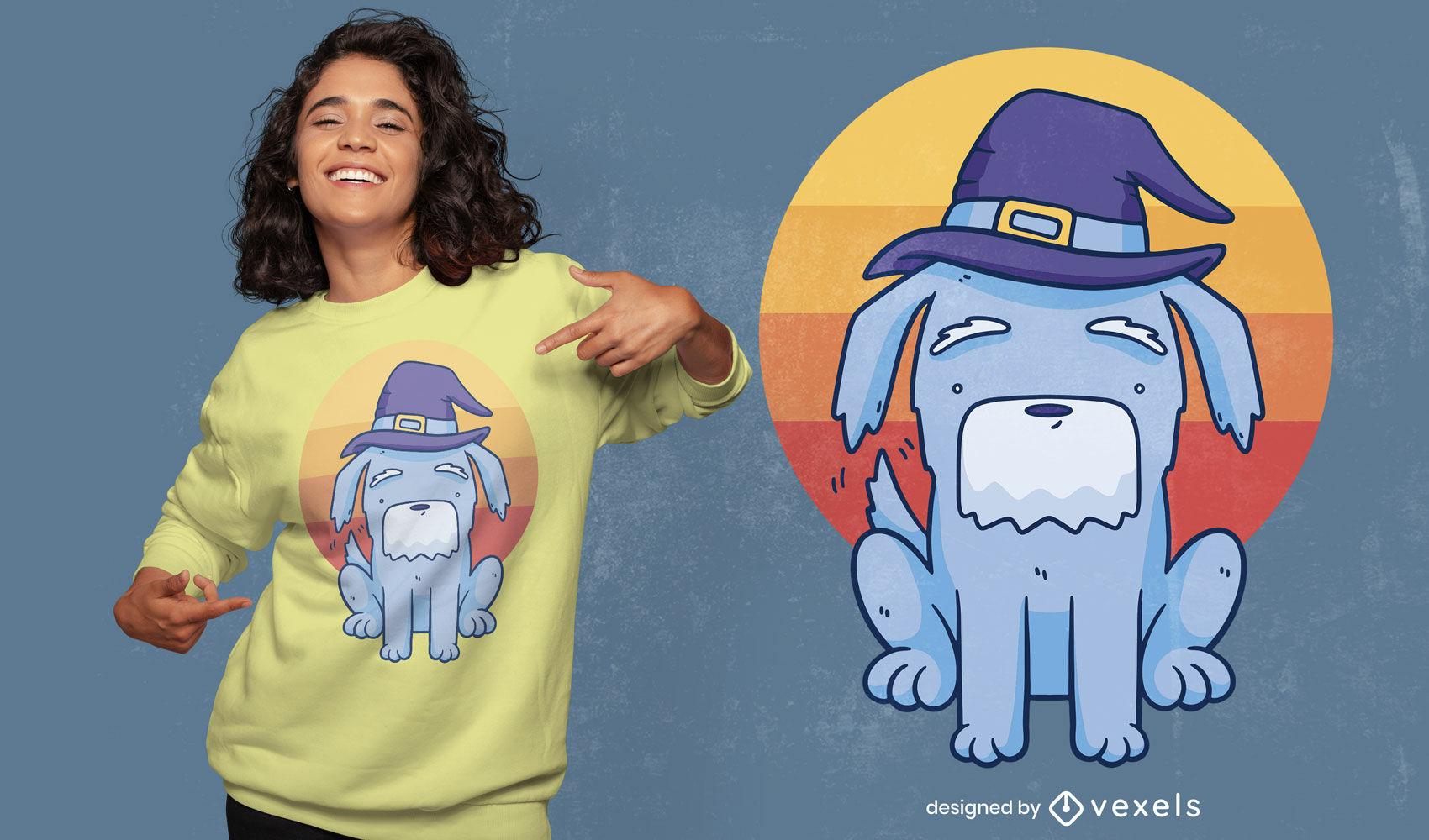 Design de camiseta de cachorro feiticeiro de Halloween