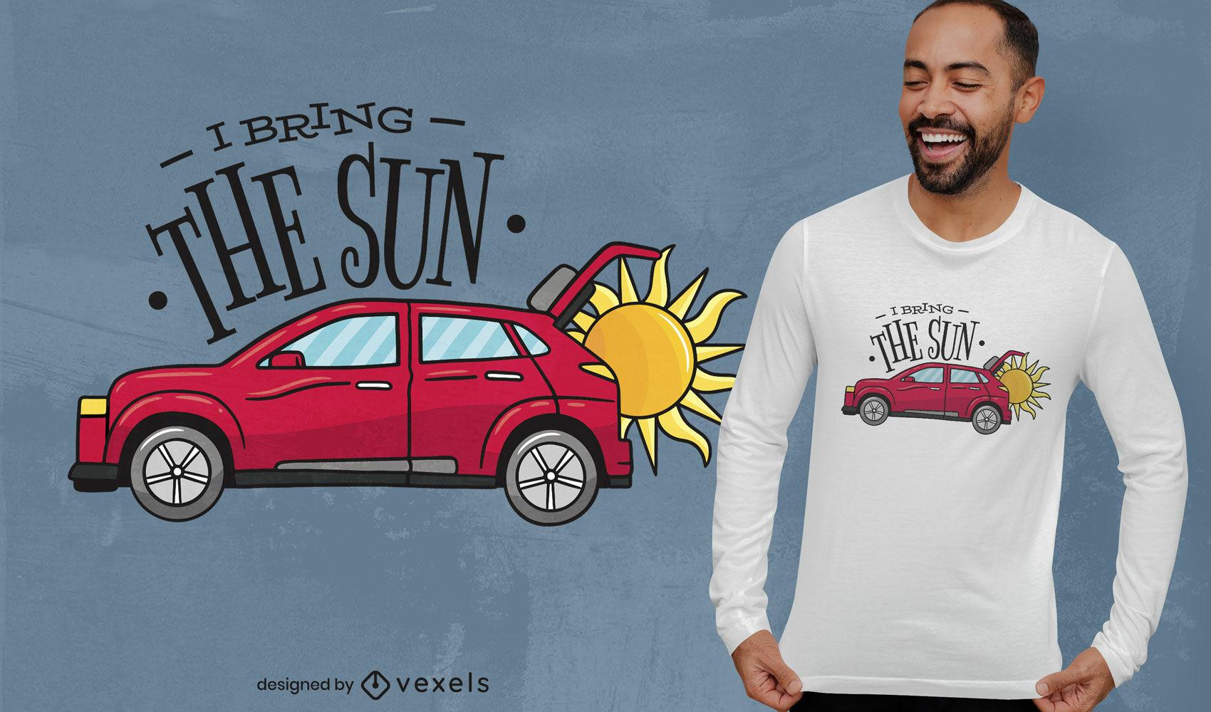 Diseño de camiseta de sol en un coche.