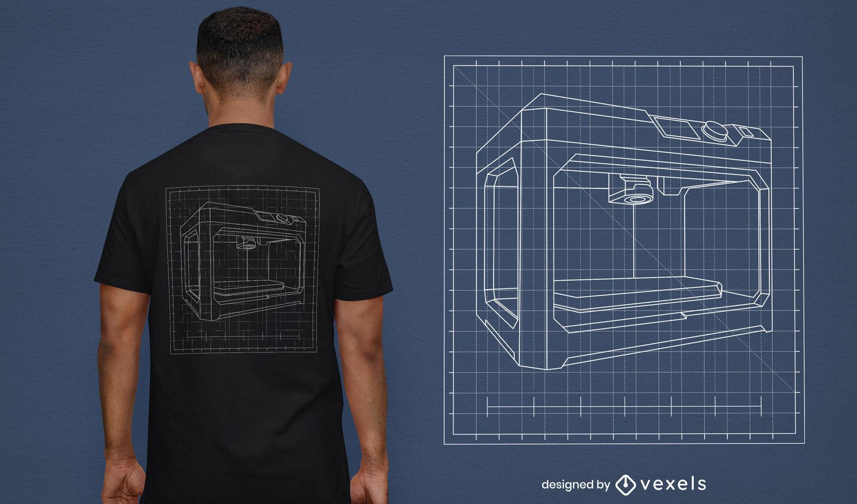 REQUEST 3D printer blueprint t-shirt design